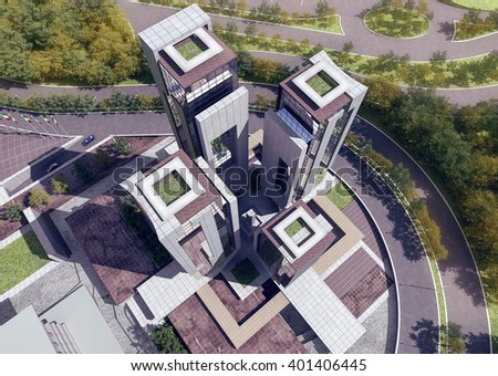 3d rendering - Hotel and administrative complex - Hotel
