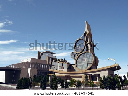 3d rendering - Hotel and administrative complex - Hotel 4 - stock photo