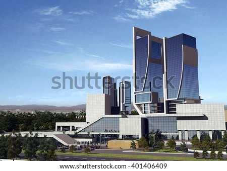 3d rendering - Hotel and administrative complex - office - stock photo