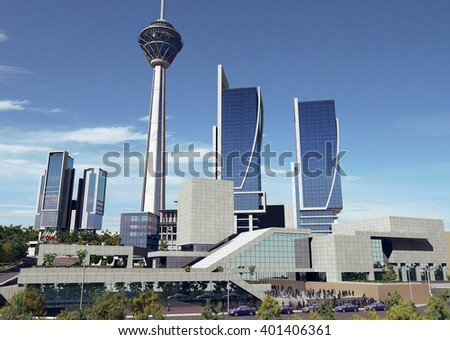 3d rendering - Hotel and administrative complex - Shopping Mall - stock photo