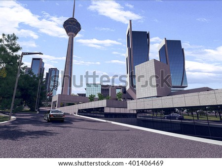 3d rendering - Hotel and administrative complex - street - stock photo