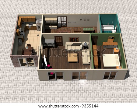 3d rendering house plan