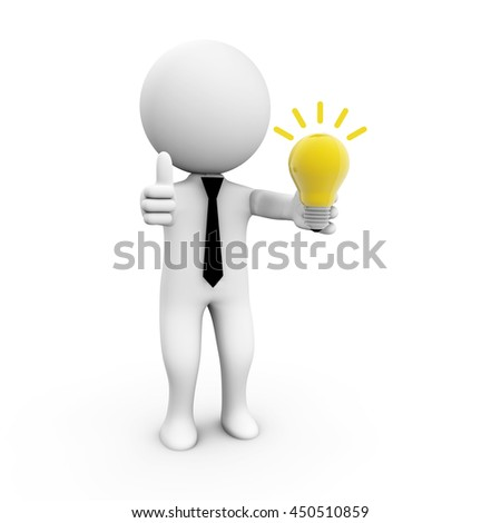 3D Rendering human character with a light bulb