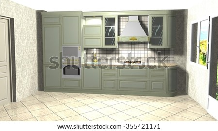 3D rendering illustration  interior design green kitchen in a classic style