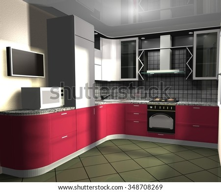 3D rendering illustration  interior design red and gray kitchen