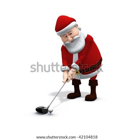 3d rendering/illustration of a cartoon santa playing golf - stock photo