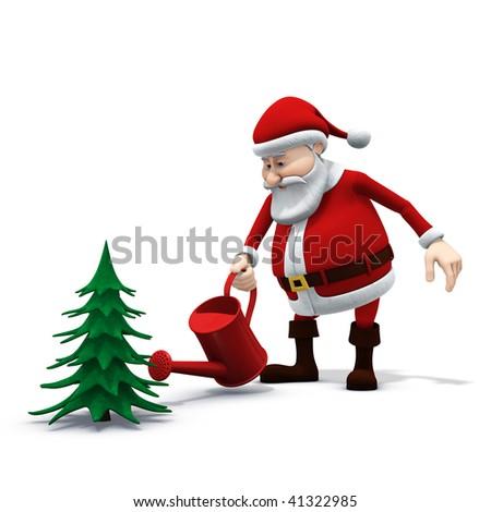 3d rendering/illustration of a cartoon santa watering a pine tree - stock photo