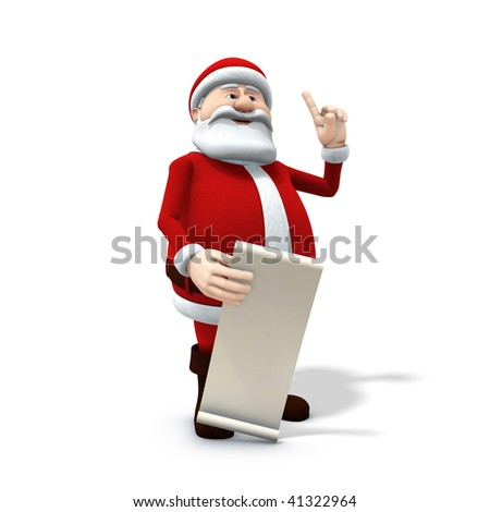3d rendering/illustration of a cartoon santa with along wish list