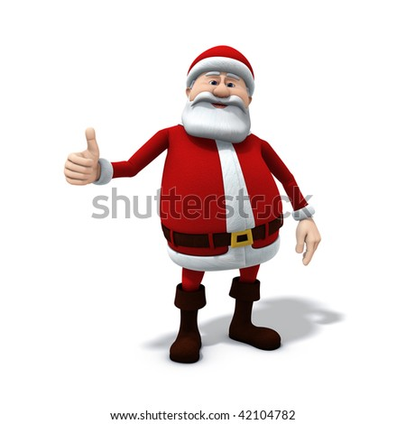 3d rendering/illustration of a cartoon santa with thumbs up gesture