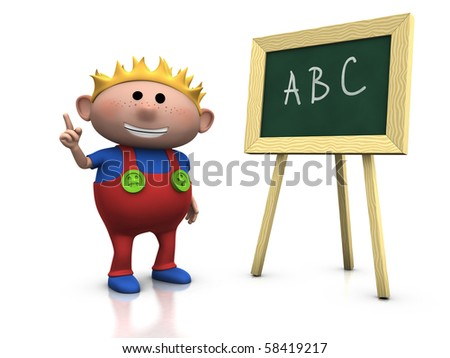 3d rendering/illustration of a cute cartoon boy in front of a blackboard raising his hand - stock photo
