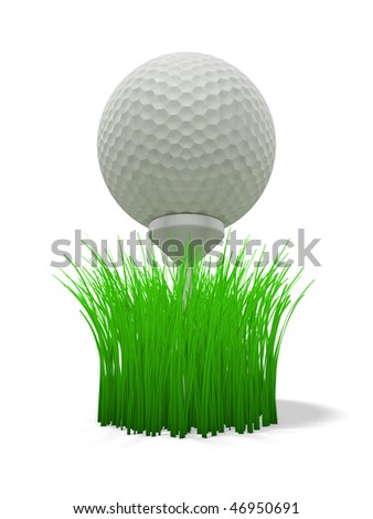 3d rendering/illustration of a golf ball on tee with grass