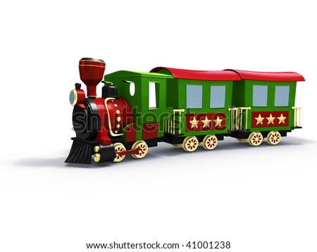 3d rendering/illustration of a stylized toy train - stock photo