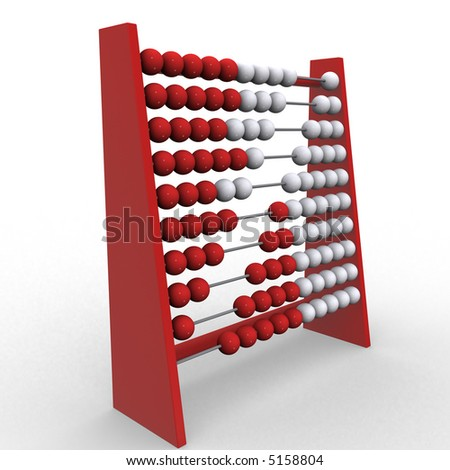 3d rendering illustration of an abacus. A clipping path is included for easy editing. - stock photo