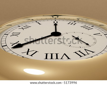 3d rendering illustration of an old clock. A clipping path is included for easy editing.