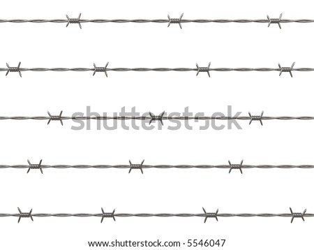 3d rendering illustration of barbed wire. A clipping path is included for easy editing.