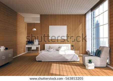 3D Rendering Illustration Of Big Spacious Bedroom In Soft Light Colorbig Comfortable Double