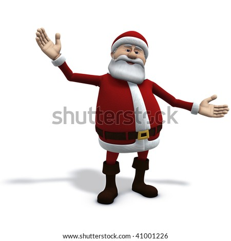 3d rendering/illustration of cartoon santa claus with open arms