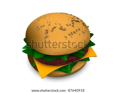 3d rendering, illustration of fast food burger, isolated on white. - stock photo