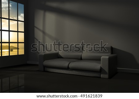 3D Rendering : illustration of interior room of modern black feeling with modern leather sofa furniture at the middle of room, morning or sunset light,seaview,sunset at the sea
