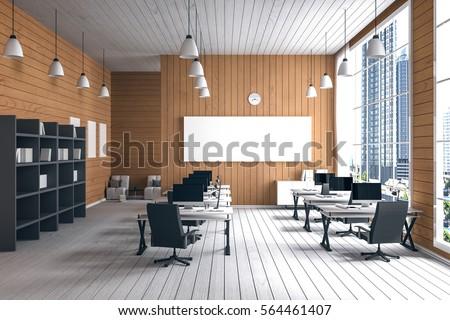3D Rendering : Illustration Of Modern Interior Creative Designer Office  Desktop With PC Computer.computer