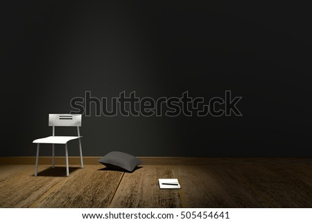 3D rendering : illustration of Modern interior with chair and note book against matte black wall background and wooden floor.lighting from top of the room.creative concept.rest concept.work place