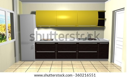 3d rendering illustration of modern style kitchen interior yellow