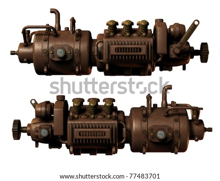 3D Rendering Illustration of parts of a machine - stock photo