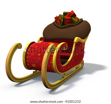 3d rendering/illustration of santa's sleigh loaded with a bag full of presents - stock photo