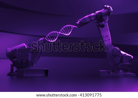 3d rendering illustration with two robot hands holding DNA model