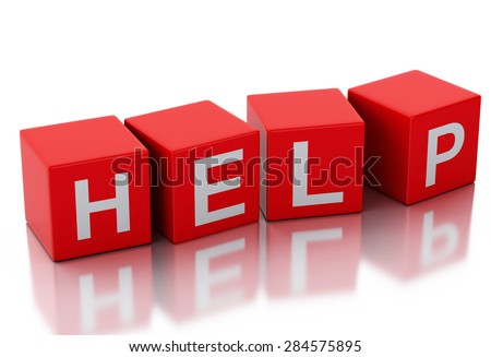 3d rendering image of help cubes. Isolated white background