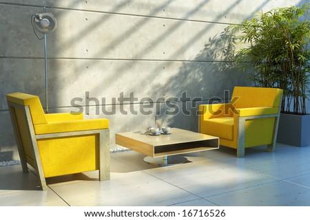 3d rendering interior lounge room - stock photo