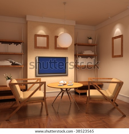 3d rendering interior of a living room