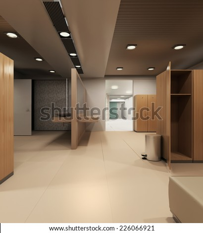 3d rendering. Interior of a locker/changing room