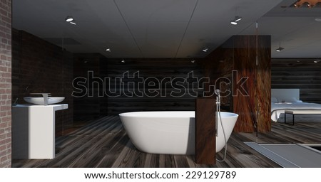3d rendering. Interior of modern apartment, bathroom empty with large windows, wooden floor and onyx fireplace.