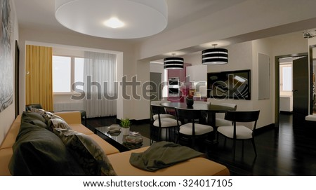 3d rendering. Interior of modern apartment, empty living room with large windows - stock photo