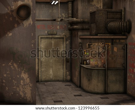 3d rendering interior view in an old American Hotel - stock photo