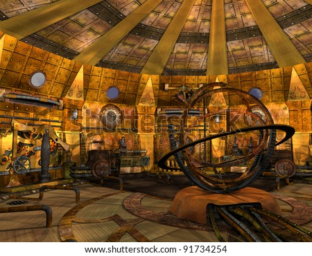 3D Rendering Interior view of a time machine - stock photo