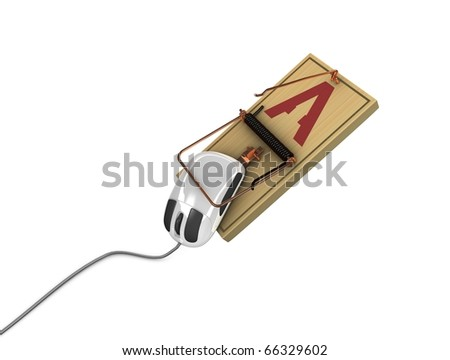 3d rendering, Internet fraud concept image. isolated on white background. - stock photo