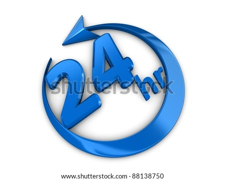 3d rendering, isolated on white background, 24 hour service sign. - stock photo