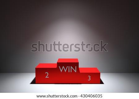 3D rendering isolated Red podium on grey background - stock photo