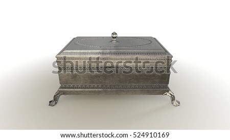 3D rendering jewelry case close on white background