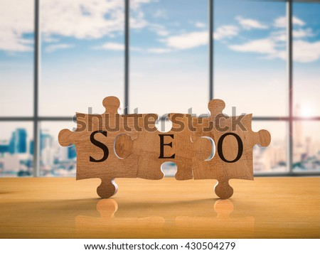 3d rendering jigsaw pieces with seo concept - stock photo