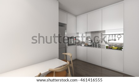 3d rendering kitchen in condominium idea with nice decoration