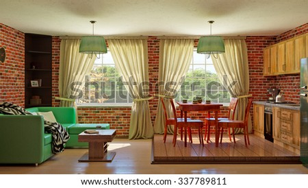 3D Rendering Kitchen interior living room with red brick walls
