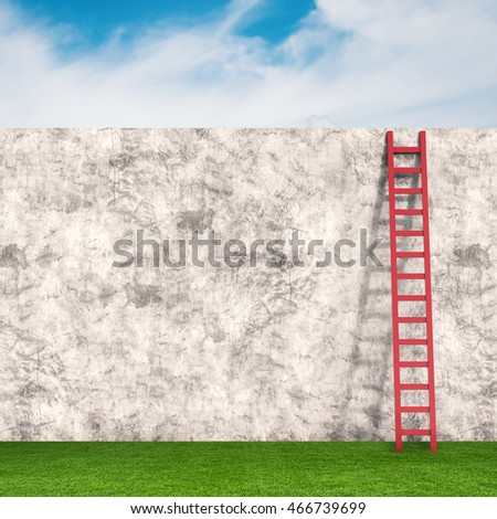 3d rendering ladder leaning on cement wall