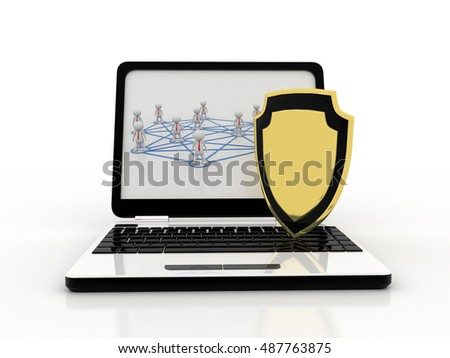 3d rendering Laptop with Protection Shield - Computer security, antivirus, firewall concept