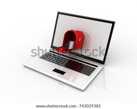 3d rendering laptops with mail envelops