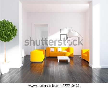3d rendering large flat - stock photo