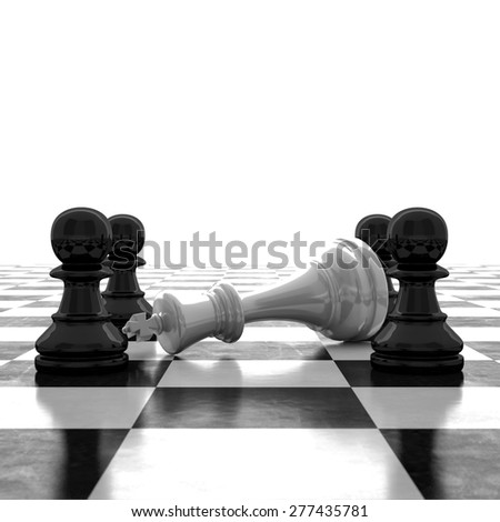 3d rendering Last chessman defeated - stock photo
