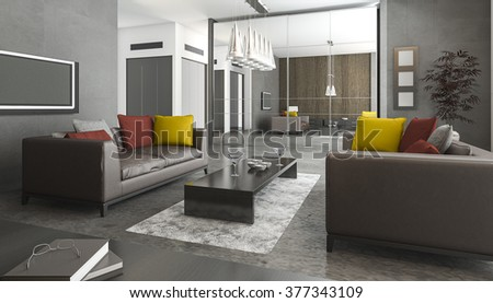 3d rendering leather sofa and colorful pillow in loft living room - stock photo